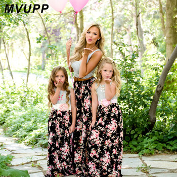 MVUPP Mommy and me family matching mother daughter dresses clothes striped mom daughter dress kids parent child outfits look 1