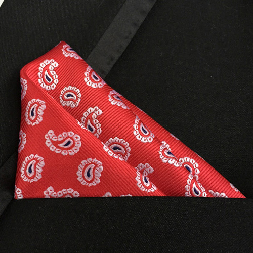 Lingyao Luxury Pocket Square High Quality Woven Handkerchiefs Red With Pink Classic Paisley Hankies For Wedding