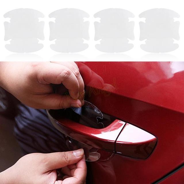4 unids/lote pegatinas invisibles universales para manija de puerta de coche pegatina de coche película protectora de protección cubierta resistente a arañazos # HA10430