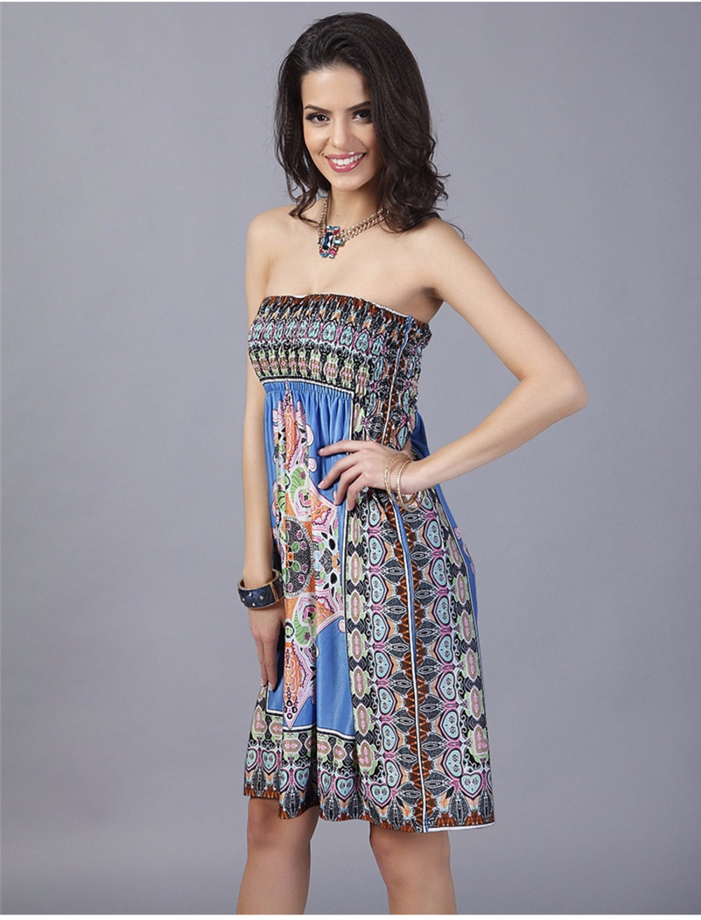 Bohemian Wrap Sexy 2017 Floral Off Shoulder Midi Dresses Party Club ...