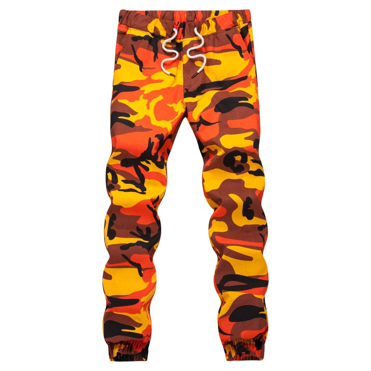 Ins Orange Camouflage Jogger Pants Men Hip Hop Woven Casual Pants Tactical Military Trouser Pockets Cotton 2020 Sweatpants