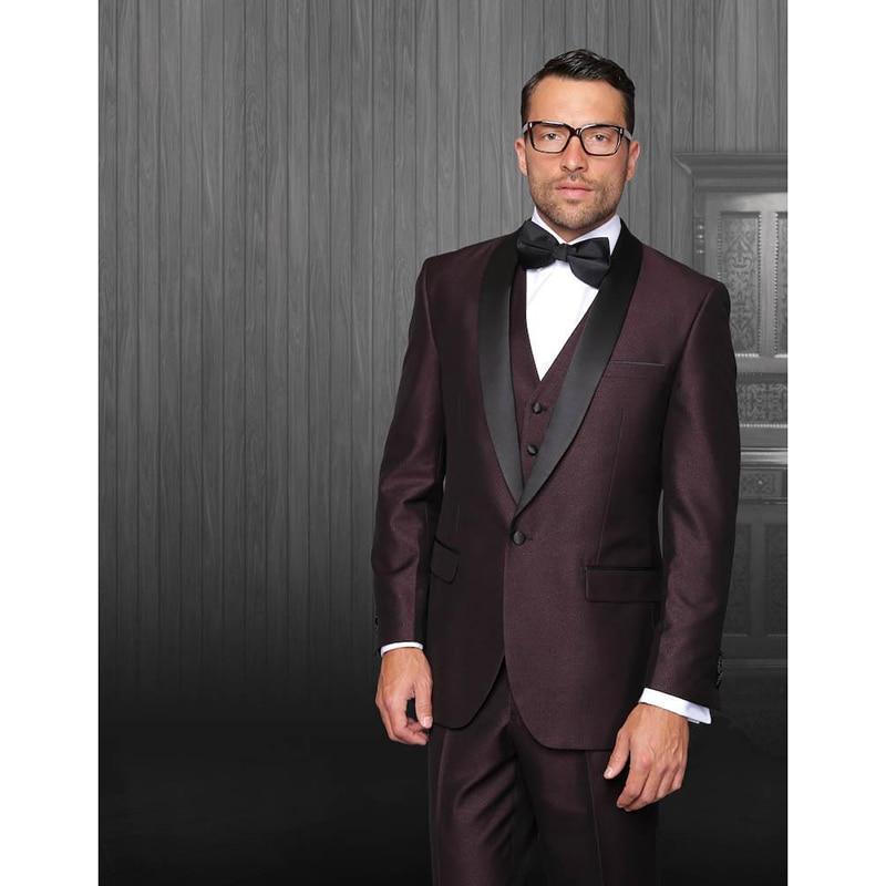 Custom made un bouton fossé Bourgogne marié hommes costume 2017 noir Revers veste + pantalon + cravate + gilet hommes robe de mariage meilleur homme costumes pour hommes