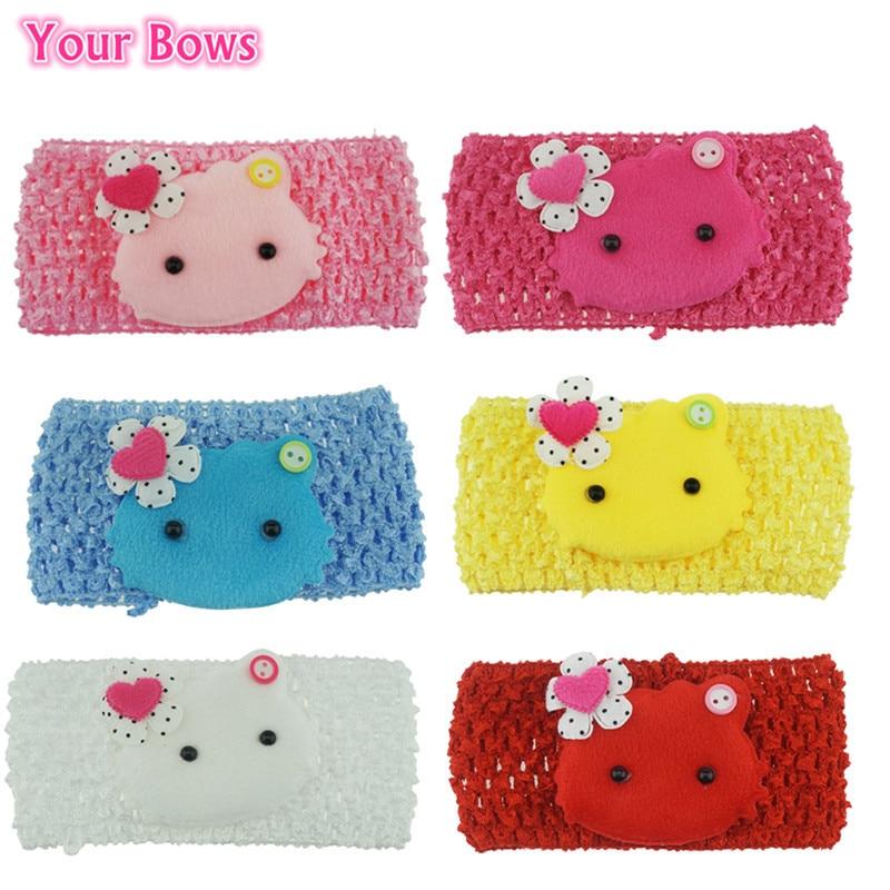 (1PCS/SELL) Baby Girls Crochet Soft HelloKitty Headband Baby Infant Headwear Children Hair Bands Baby Hair Accessories 6 Colors