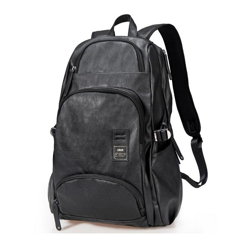 VK Men PU Leather 14 Inch Laptop Backpack Travel Bags Rucksack Qaulity Large Capacity Women School Teenagers Backpacks 140029 large capacity backpack laptop luggage travel school bags unisex men women canvas backpacks high quality casual rucksack purse