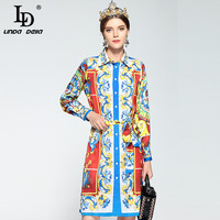 LD LINDA DELLA New 2018 Fashion Designer Runway Dress Women S Long Sleeve Shirt Collar Loose