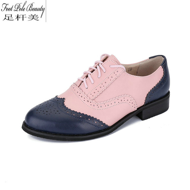 9fb985657bf US $37.23 51% OFF|British style vintage oxfords shoes women genuine leather  brogue shoes pink+blue Mixed colors ladies Flats -in Women's Flats from ...