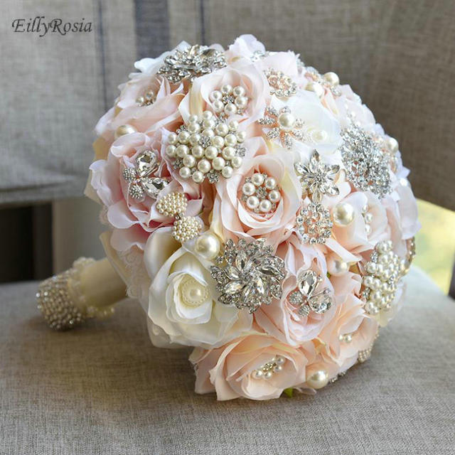 Champagne Pink Bridal Bouquet Pearls Rhinestones Crystals Romantic Artificial Flowers Wedding Bouquets with Ribbon Designer 2018