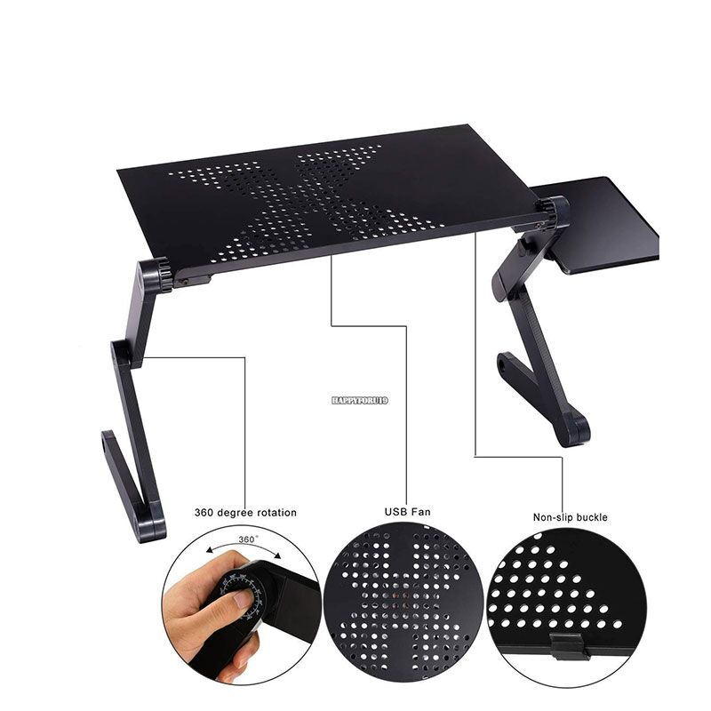цена на 360 Degree Adjustable Laptop Table Portable Computer Desk Bed Laptop Stand Tray Desk With Cooling Fan Mouse Pad Laptop Tables
