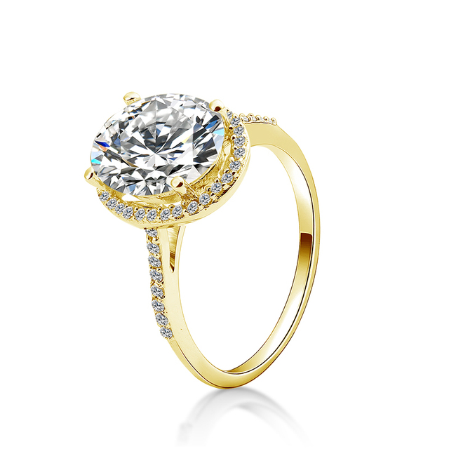 QYI Wedding Wedding Ring 14K Solid Yellow Gold Prong Setting 4ct Oval Zirconia Ring Set jewelry Engagement Wedding 1