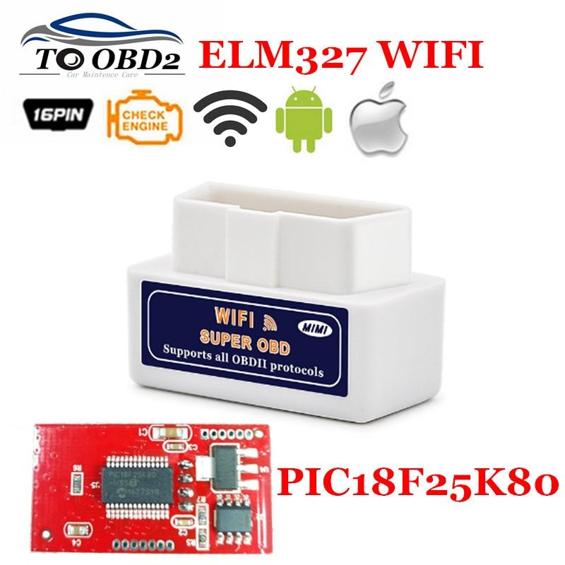 Prix pour Super MINI Blanc ELM327 Sans Fil V1.5 Auto OBD OBDII Diagnostic Scanner ELM 327 WIFI 1.5 Meilleur PIC18F25K80 Puce Fonctionne Android/IOS