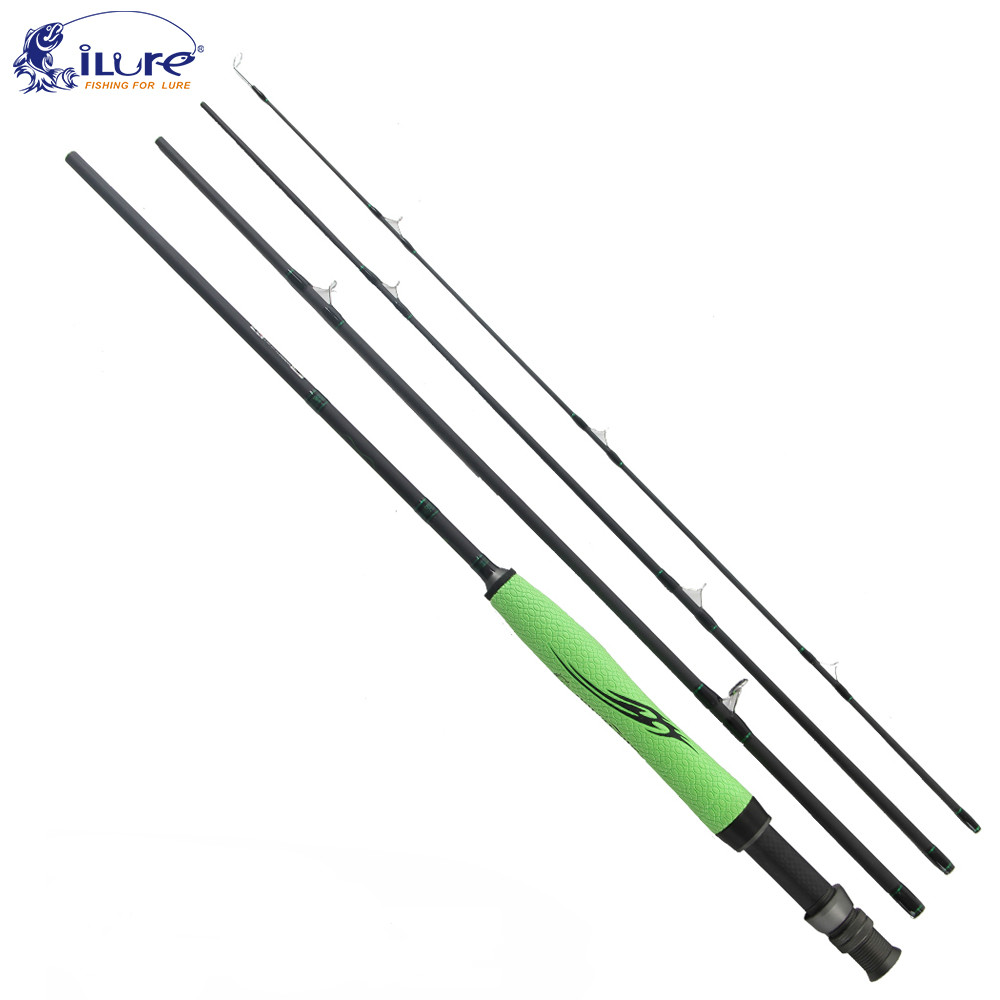 iLure Carbon Fly Rod 2.28m/2.7m 4 Section Fast Action Fishing Rod for Fly Fishing Super Light Canne A Peche Fishing Tackle