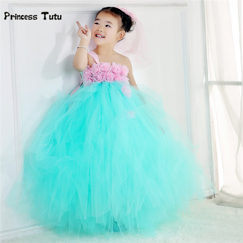 купить Handmade Baby Girl Party Tutu Dress Tulle Mint Green Princess Flower Girl Dresses Kids Pageant Birthday Wedding Dresses 2-14Y дешево