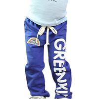 Child Kids Baby Boys Long Pants Trousers Casual Rainbow Pattern Cotton Bottoms 2 6Y Hot