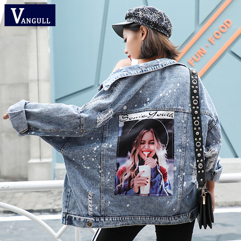 Vangull False Two Piece Hooded Denim Jacket Women 2019 Spring Applique Jeans Outwear Female Single Breasted Frayed Jeans   Coats