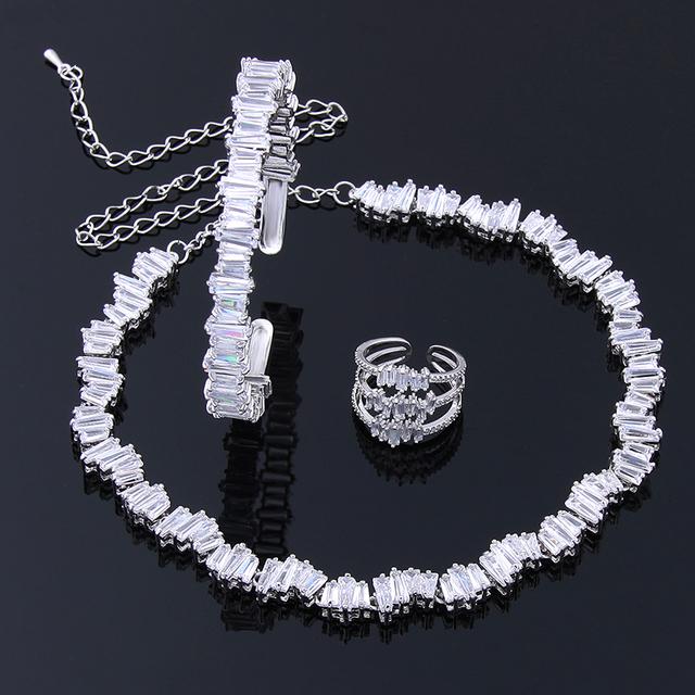 2016 Nuevo Diseño de Forma Cuadrada Anillo Brazalete Collar AAA + Cubic Zirconia Creado Diamantes de Lujo Conjunto de Joyas Para El Partido WS125