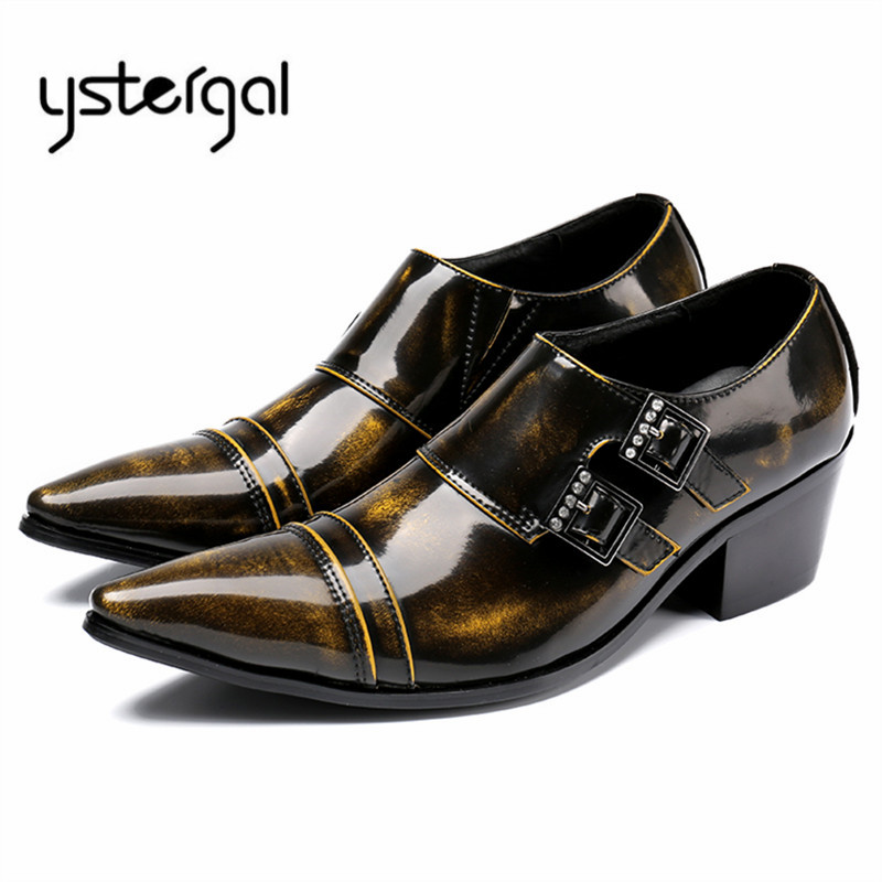 YSTERGAL 2018 New Genuine Leather Men Formal Dress Shoes Pointed Toe Retro Business Wedding Shoes Men Flats Chaussure Homme pjcmg spring autumn men s genuine leather pointed toe slip on flats dress oxfords business office wedding for men flats shoes