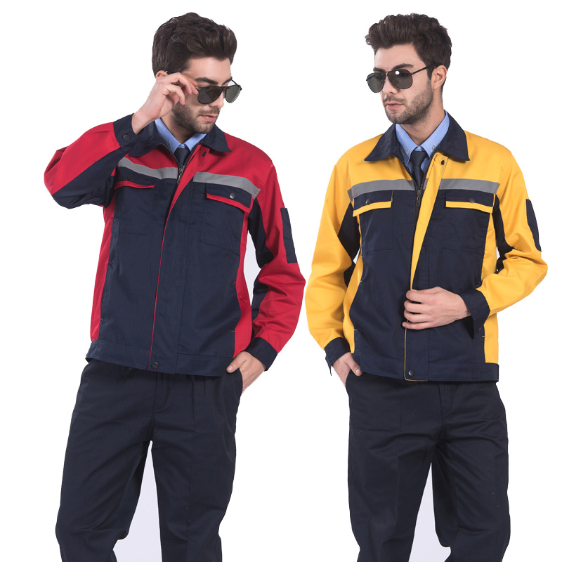 Multi Pockets Industrial Workwear Jacket and Trousers Work Set Clothing with Reflective Stripe Embroidery Logo