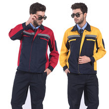 Multi Pockets Industrial Workwear Jacket and Trousers Work Set Clothing with Reflective Stripe Embroidery Logo(China)