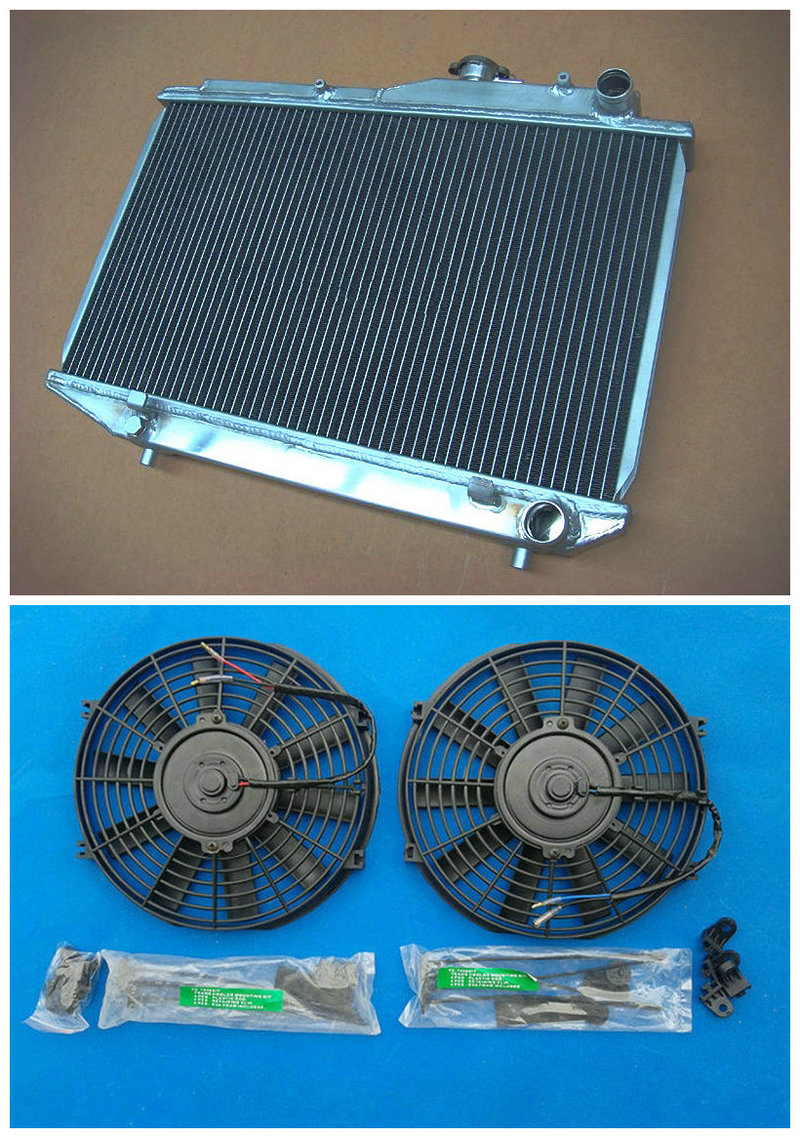 Factory Outlet Aluminum Radiator 2 FAN For Toyota COROLLA AE86 4AGE 1983 1987 52MM GTS 84