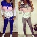 2 Unids Mujeres Chándal Con Capucha Sudadera Suéter Pantalones Basculador Trajes Set
