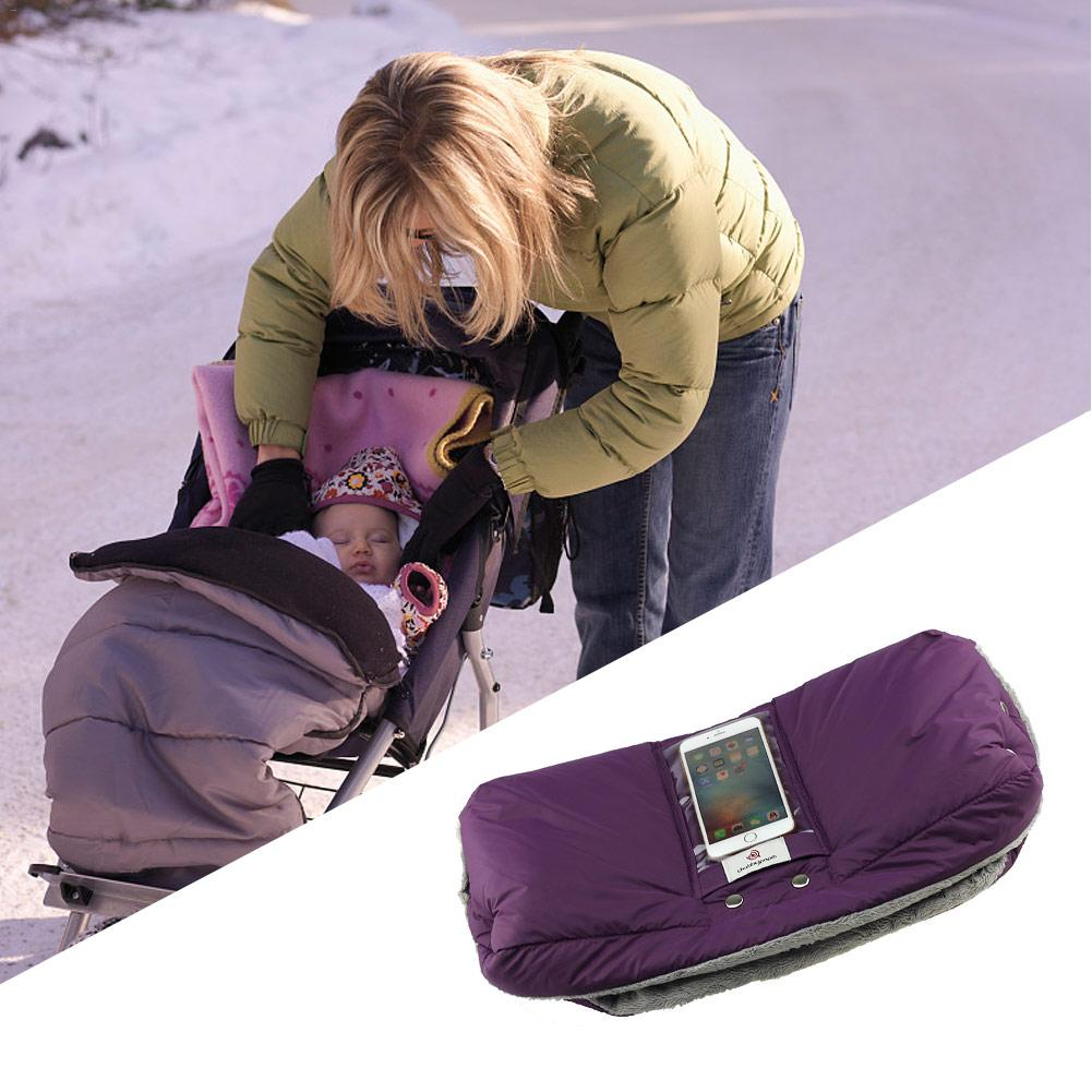 Baby Stroller Warm velveteen Gloves Stroller Accessories with Mobile Phone Pocket waterproof