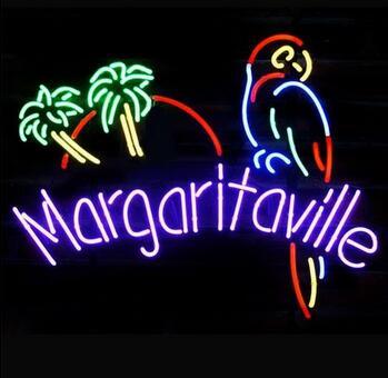 Enseigne au néon en verre Margaritaville