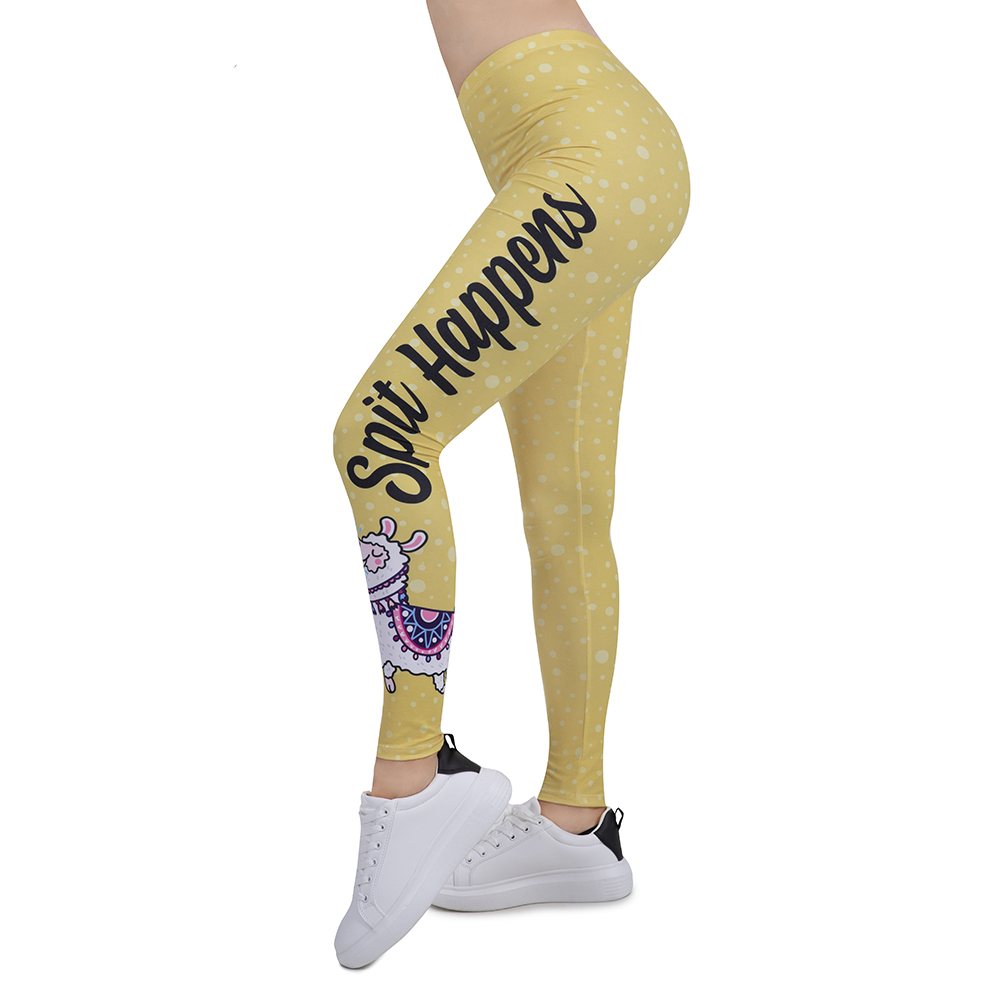 New Design Women Legging Funny Alpaca Printing Leggins Slim High Elasticity Legins Fitness Leggings Female Pants