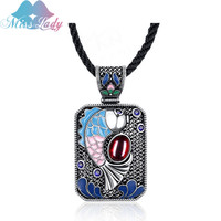 Miss Lady Handmade Oil Drip Silver Plated Vintage Square Clouds Pattern Natural Stones Rectangle Pendant Necklace