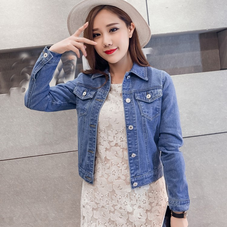 5 Colors Autumn Women Slim Denim   Jacket   Preppy Style Short Jeans Overcoat   Basic     Jackets   Turn Down Collar White Jeans   Jacket