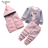 Children's Winter Thickening Clothing Sets Baby Plus Velvet Deer Vest Shirts Pants 3pcs Outfits Kids Boys Girls Sports Tracksuit
