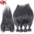 Unprocessed Human Virgin Hair Brazilian  Straight Hair Bundles 4Bundles With 3Part  Lace Closure Bleached Knots Hair Pieces