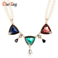 DuoTang Hyperbole Crystal Heatr Pendant Beads Necklace Fashion Clavicle Chain Chokers Necklaces For Women Accessories Gift