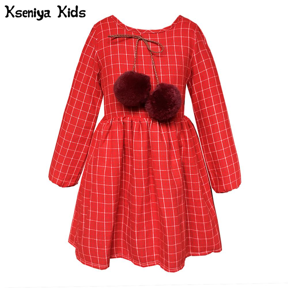 Kseniya Kids 2017 Spring Autumn New Year Cute Long Sleeve Baby Infant Girl Clothes Red Plaid Girls Princess Dress With Bobbles toddler girl dresses chinese new year lace embroidery flowers long sleeve baby girl clothes a line red dress for party spring