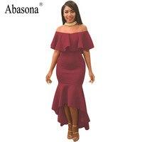 Abasona Summer Off Shoulder Irregular Maxi Dress Women Sexy Slash Neck Ruffles Bodycon Party Dresses Elegant