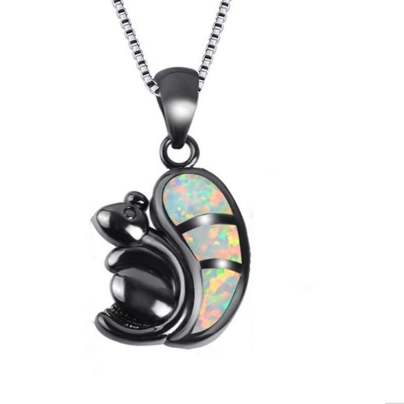 Fashion Bohemia Vintage Squirrel Choker Pendant Necklace White Imitation Opal Necklaces for Women Men Boho Animal Mouse Jewelry