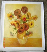 High Quality Vincent Van Gogh Oil Painting Handpainted Repoduction Fourteen Sunflowers Painting Free Shipping