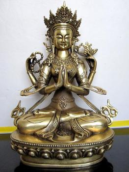 Guanyin Bodhisattva, four arm Avalokiteshvara, pure copper statue of Buddha, statue, figure, Tibetan Buddhism~