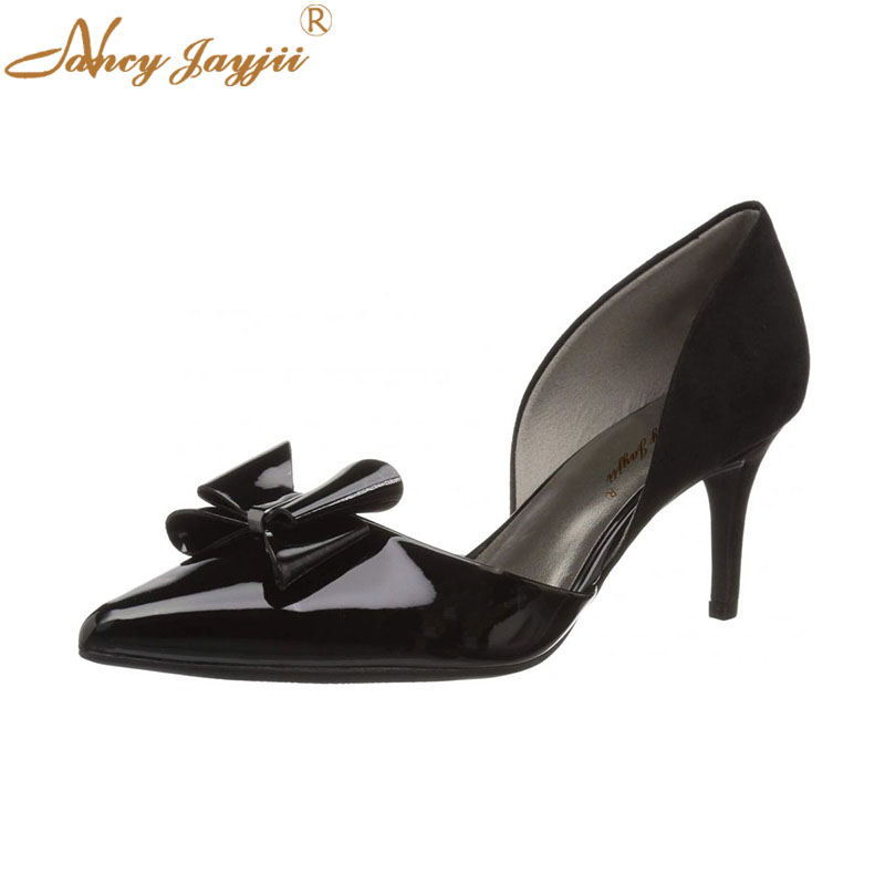 Super Doux Haute De Solide Cuir Pompes Pointu Femme Verni Mince Ty01 Talons Papillon kont Lady Marque Slip En Chaussures on Base Noir Bout wRq8xwO7I6