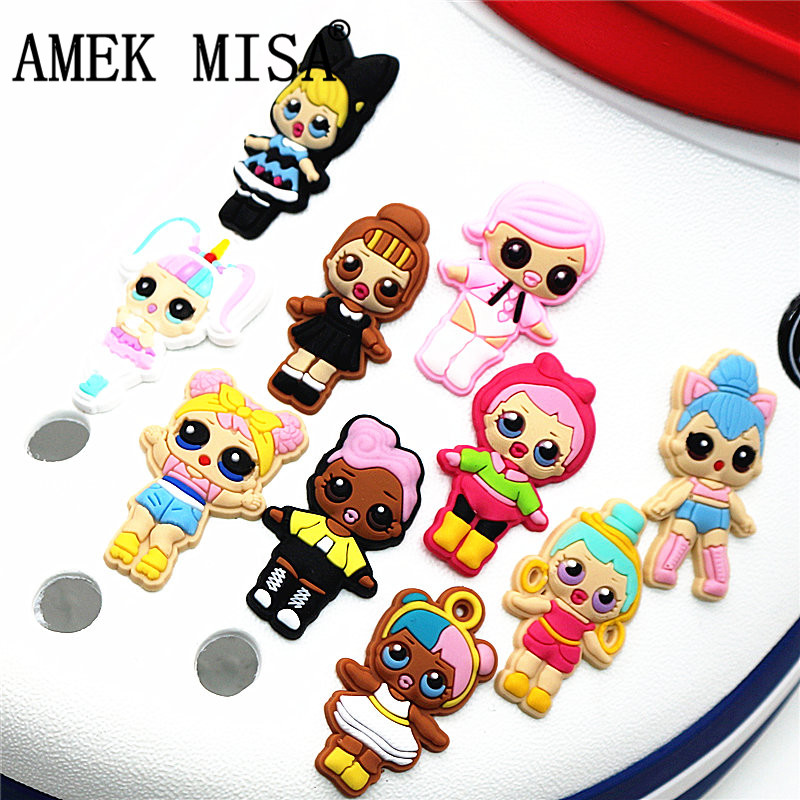 10Pcs/Set PVC Surprise Shoe Decorations Lovely Doll Garden Shoe Accessories Croc Charm For JIBZ/ Wristbands Kids Party Xmas