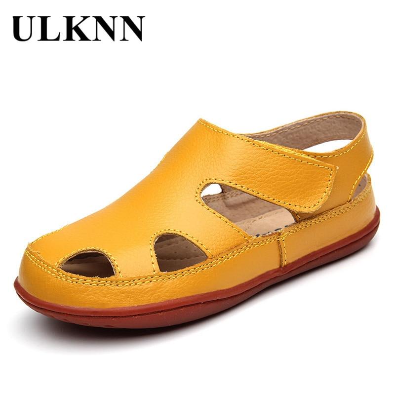 ULKNN Summer Children Sandals Genuine Leather Sandal Beach Shoes Boys Sandals Girls Shoes For Kids Closed Toe Toddler Breathable