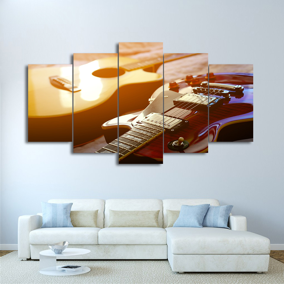 5 pieces classical guitar home decor printed pictures canvas painting living room music poster. Black Bedroom Furniture Sets. Home Design Ideas