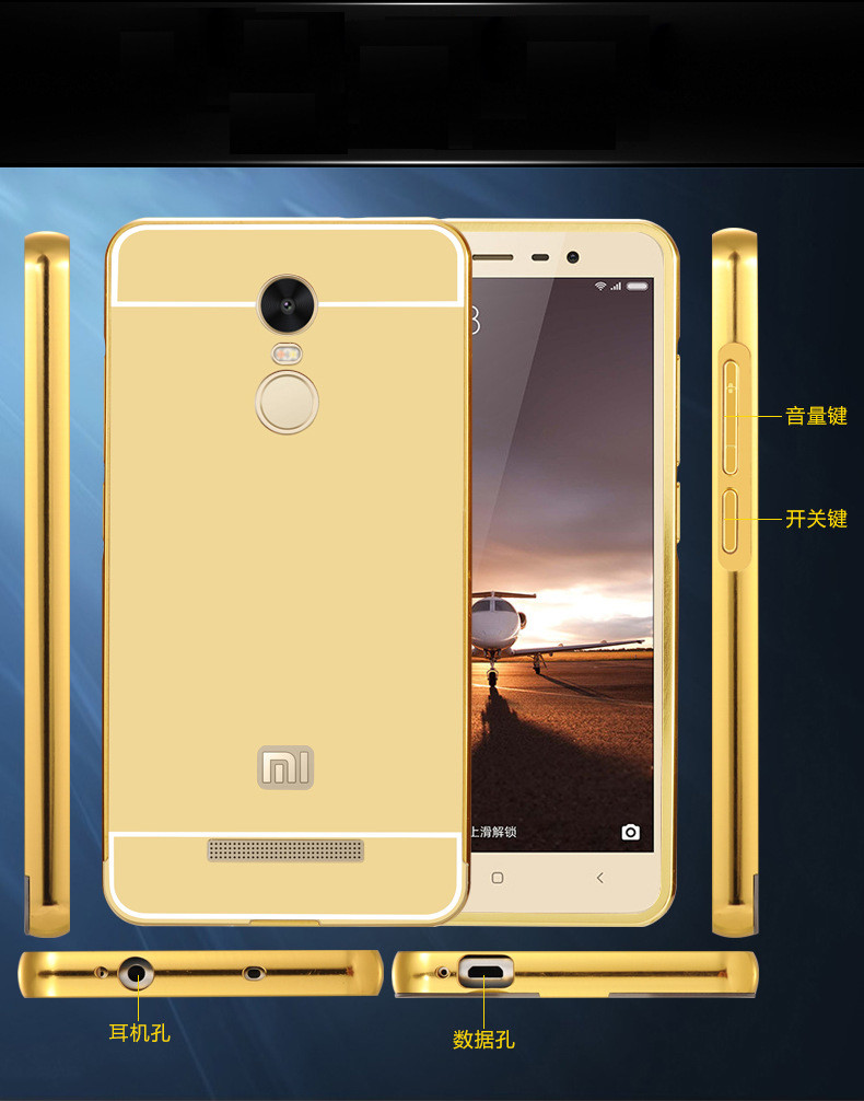 For Xiaomi Red Mi Note 3 Back Cover Luxury Aluminum Metal Bumper Mirror Electroplating Redmi Phone Case Capa