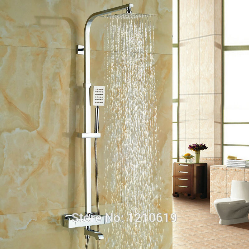 цена на Uythner Newly 8 Rainfall Thermostatic Shower Set Faucet Wall Mount Chrome Shower Mixer Tub Faucet Tap w/ Hand Shower