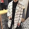 Moda estilo inglaterra xadrez impressão casaco de inverno homens roupas espessamento sobretudo de lã não erkek mont homens tamanho m-5xl NDY12-1
