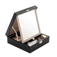Jewelry Makeup Organizers Mirror Lock Storage Box Earrings Necklace Ring Bracelet Case Bathroom Organization Accessories Items