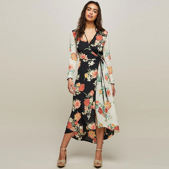 d8275c56e6be5 BOHOFREE Mixed Print Wrap Midi Dress Femmes Flroal Kimonos Long Sleeve  Street Style Bohemian Gypsy Elegance Ladies Casual Dress