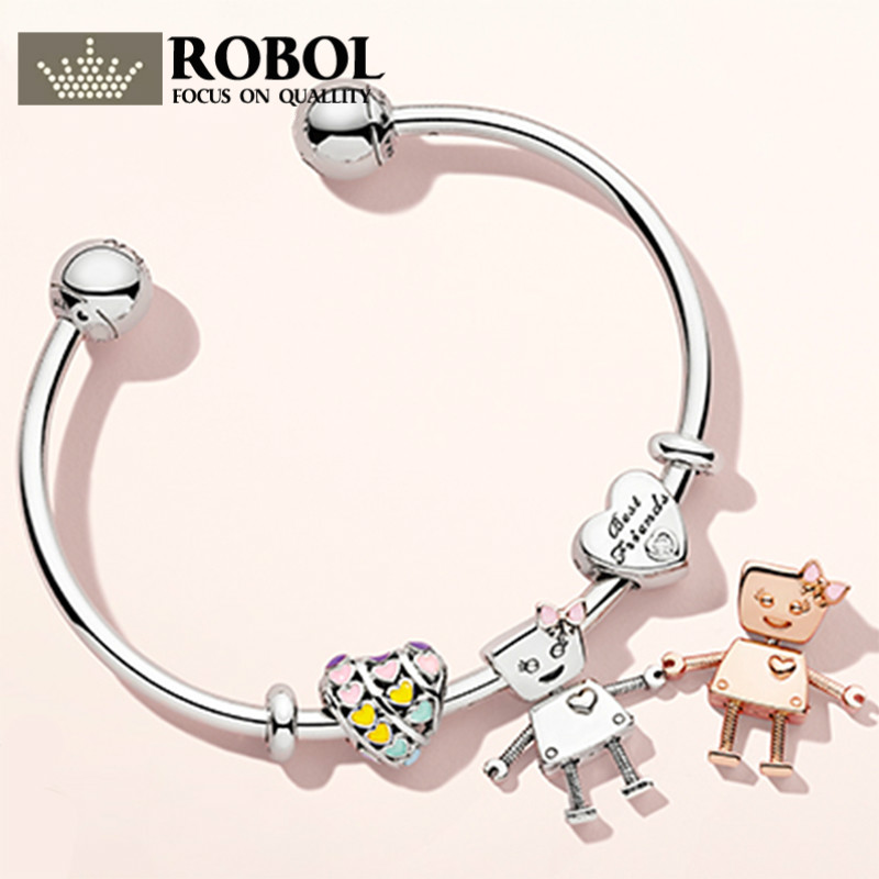ROBOL 100% Sterling Silver Brand New 1:1 New Robot Friend Bracelet Sun-Filled Robot Bracelets For Women