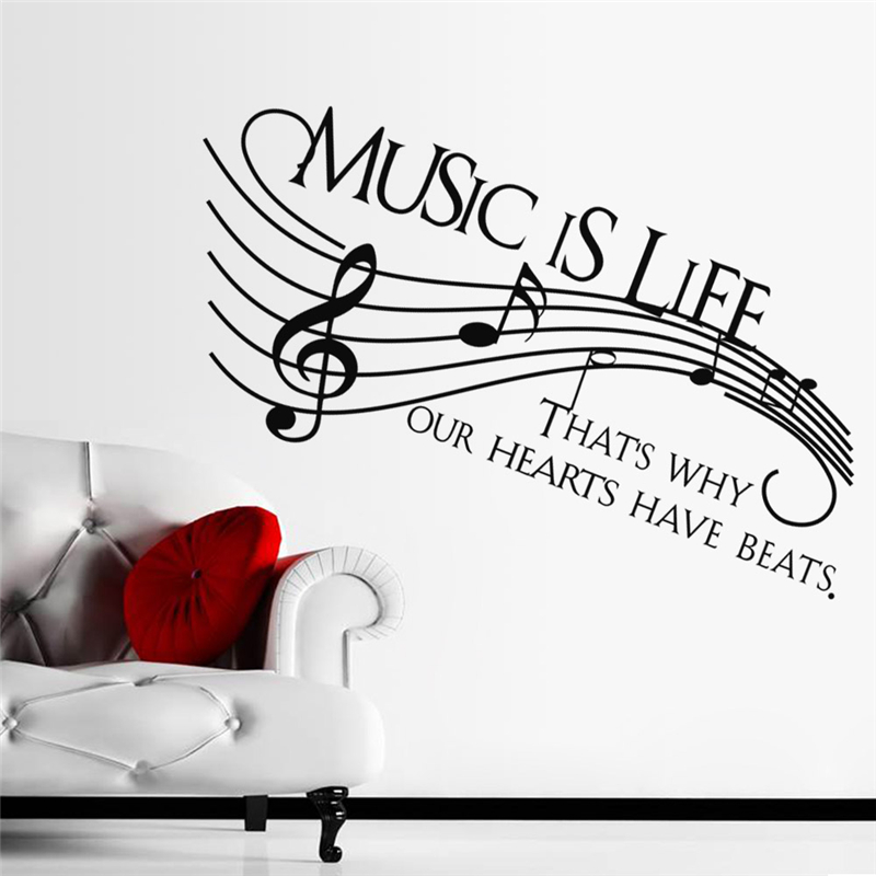 Music Is Life Quotes Wall Stickers For Living Room Bedroom Home