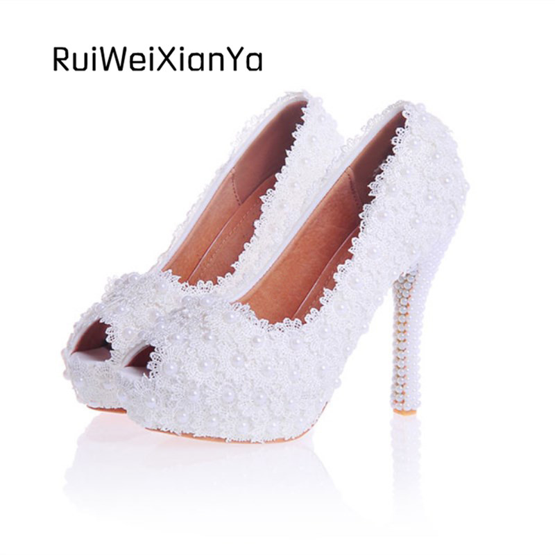 2017 New Fashion Spring Ladies Open Toe Shoes Woman Pumps High Heels Sweet Lace White Wedding Shoes for Bridal Plus Size Hot 2017 new fashion spring ladies pointed toe shoes woman flats crystal diamond silver wedding shoes for bridal plus size hot sale