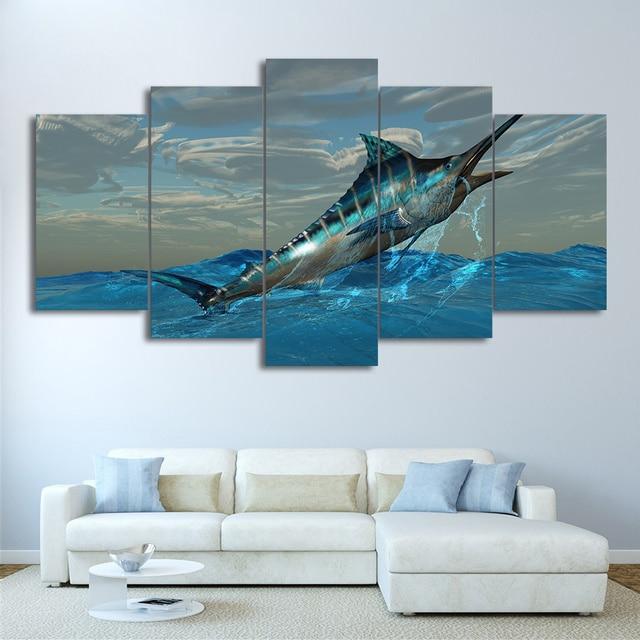 Hd Printed Canvas Poster Frame 5 Panel Jumping Tuna Fish Blue Sea Home Decor Living Room